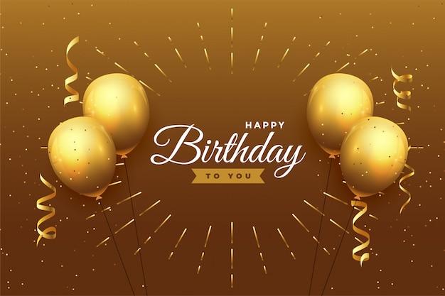 Gelukkige verjaardag viering achtergrond in gouden thema Gratis Vector
