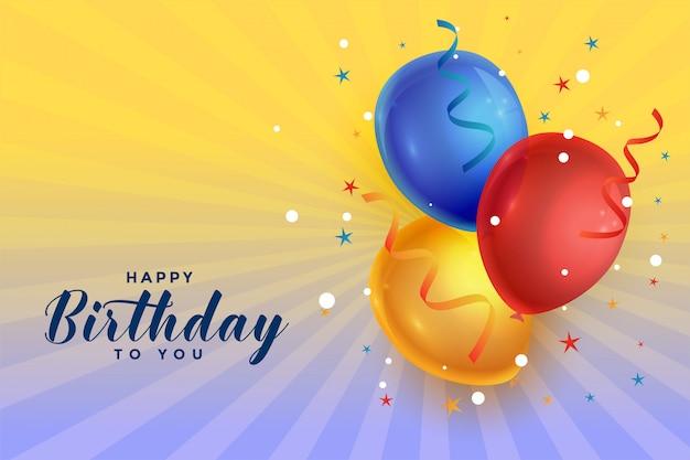 Gelukkige verjaardag viering ballonnen met confetti achtergrond Gratis Vector