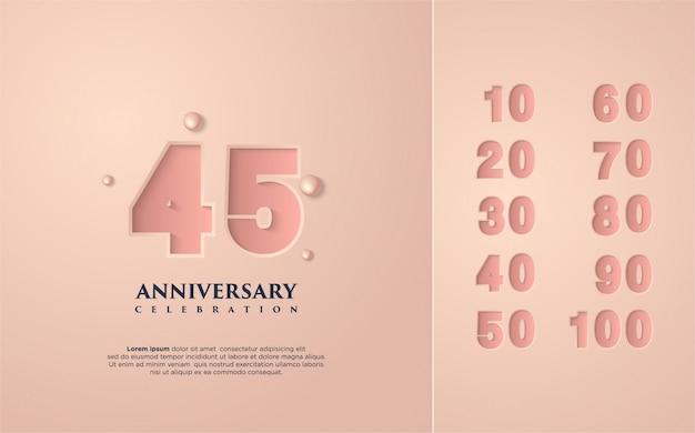 Gelukkige verjaardag viering roze met verschillende sets van nummers van 10 tot 100. Premium Vector