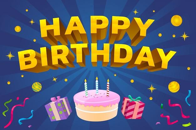 Gelukkige verjaardag voor iedereen veel plezier met het feest vanavond. geef geschenken en heerlijke taarten weg en wens je vervulling Premium Vector