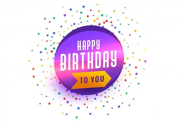 Gelukkige verjaardag wensen achtergrond met confetti burst Gratis Vector