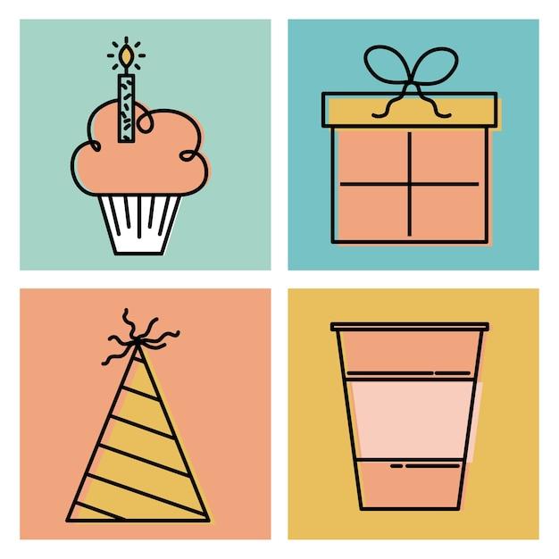 Gelukkige Verjaardag Wensen Viering Tijd Dag Pictogrammen