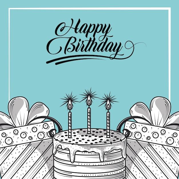 Gelukkige verjaardag wenskaart met cake en geschenken, gravure stijl illustratie Premium Vector