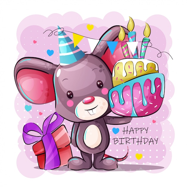 Gelukkige verjaardag-wenskaart met schattige cartoon baby muis Premium Vector