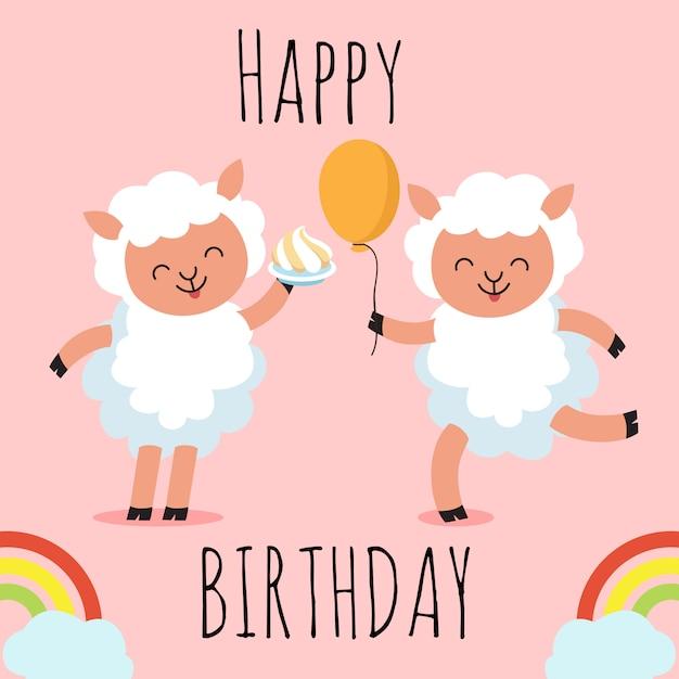 Gelukkige verjaardag-wenskaart met schattige cartoon karakter schapen, Premium Vector