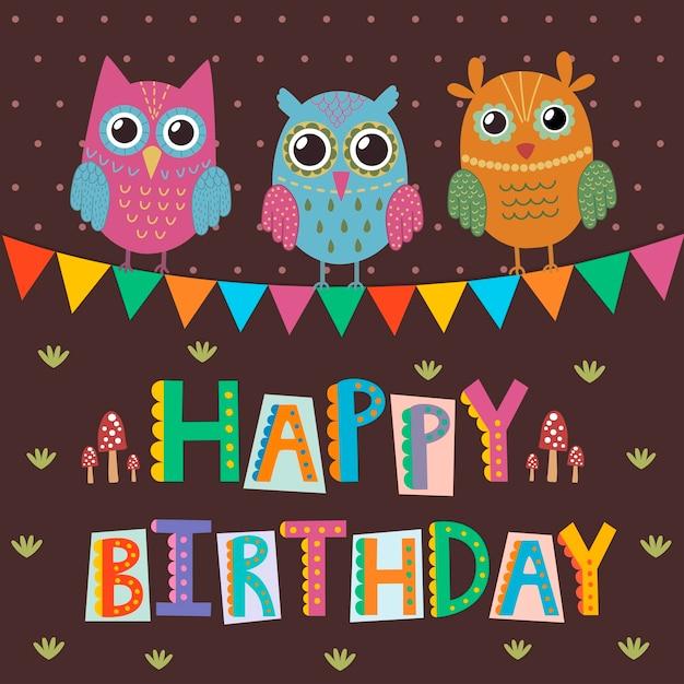 Gelukkige verjaardag-wenskaart met schattige uilen en grappige tekst Premium Vector