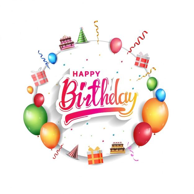 Gelukkige verjaardag-wenskaart voor uitnodiging Premium Vector