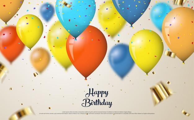 Gelukkige verjaardagsachtergrond met kleurrijke ballonsillustratie Premium Vector