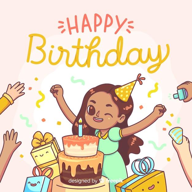 Gelukkige verjaardagsachtergrond met leuk meisje Gratis Vector
