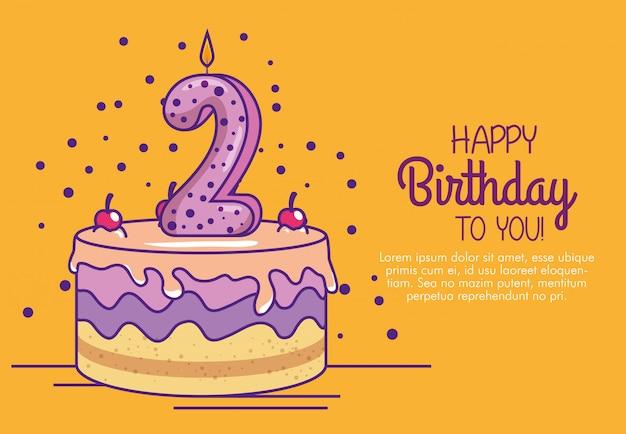 Gelukkige verjaardagscake met kaars nummer twee Gratis Vector