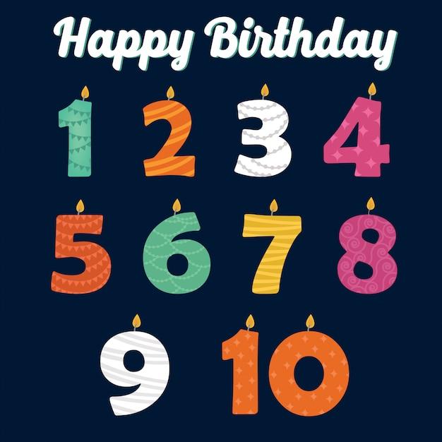 Gelukkige verjaardagskaarsen in nummers voor uw familiefeest Premium Vector