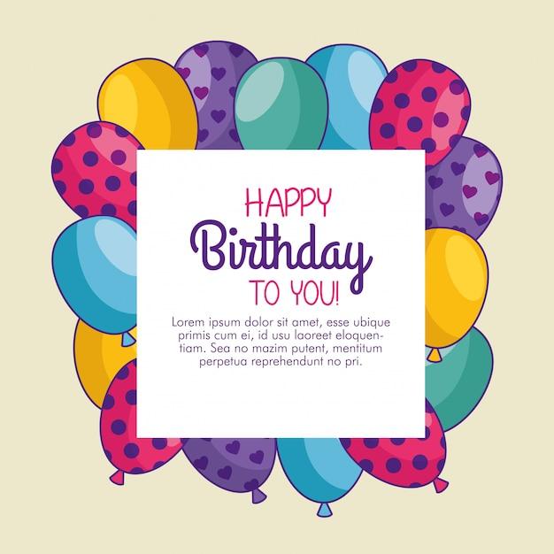 Gelukkige verjaardagskaart met ballonnen decoratie Gratis Vector