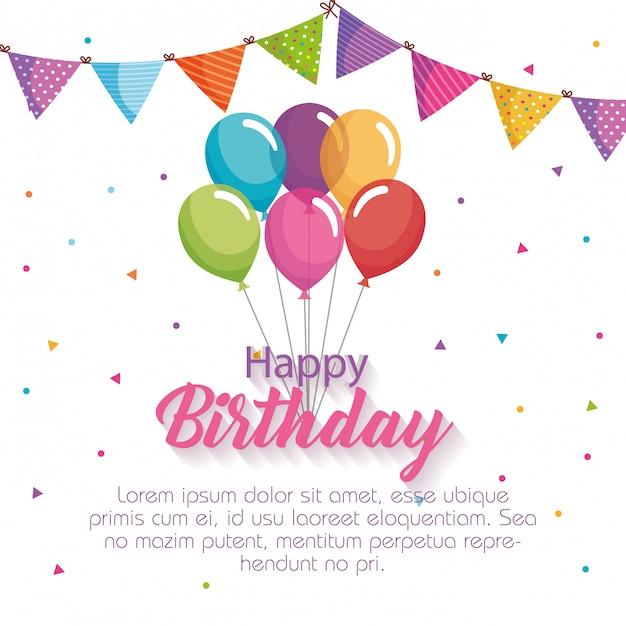 Gelukkige verjaardagskaart met ballonnen lucht Premium Vector