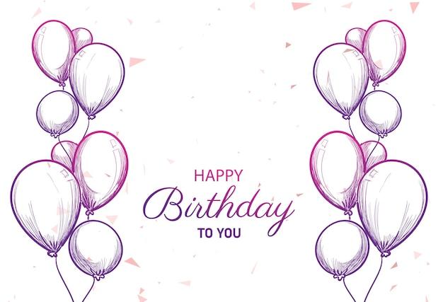 Gelukkige verjaardagskaart met ballonnen schets achtergrond Gratis Vector