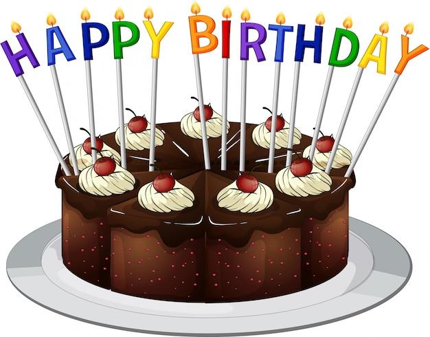 Gelukkige verjaardagskaart met chocoladetaart en kaarsen Gratis Vector