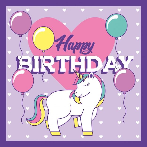 Gelukkige verjaardagskaart met eenhoorn en ballonnen Premium Vector