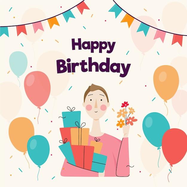 Gelukkige verjaardagskaart met geïllustreerde vrouw Gratis Vector