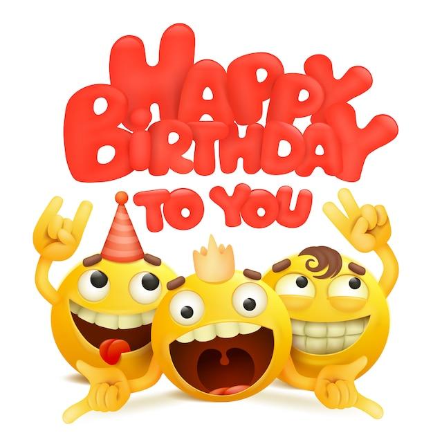 Gelukkige verjaardagskaart met groep emojis stripfiguren. Premium Vector