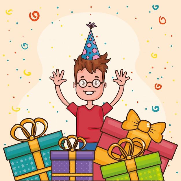 Gelukkige verjaardagskaart met kleine jongen Gratis Vector