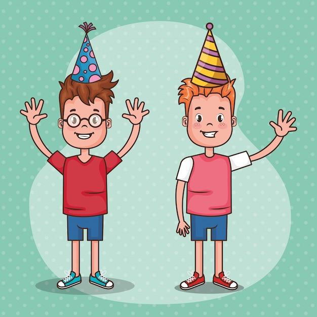 Gelukkige verjaardagskaart met kleine kinderen Gratis Vector