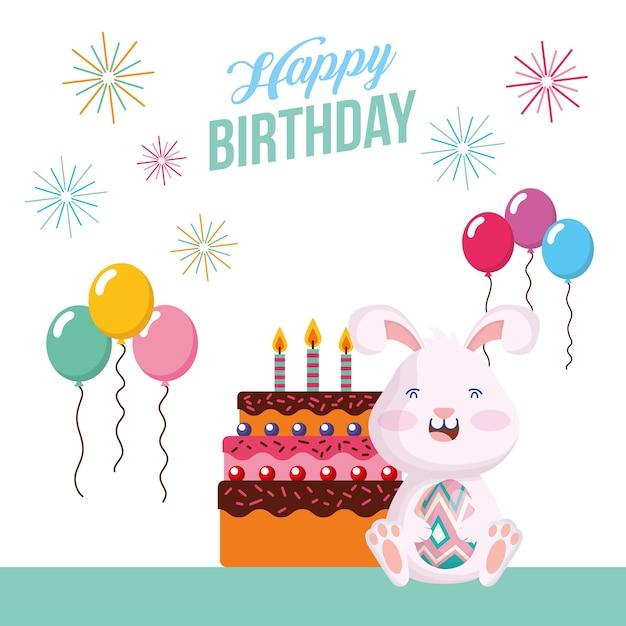 Gelukkige verjaardagskaart met konijn in vector de illustratieontwerp van de partijscène Premium Vector