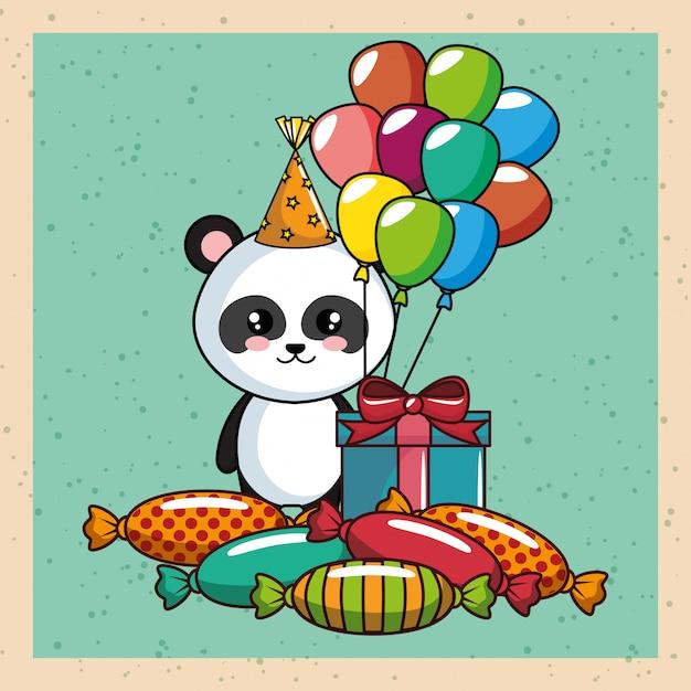 Gelukkige verjaardagskaart met panda beer Premium Vector
