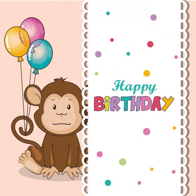 Gelukkige verjaardagskaart met schattige aap Gratis Vector