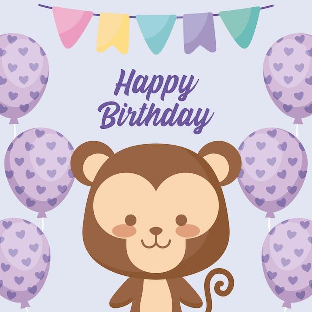 Gelukkige verjaardagskaart met schattige aap Premium Vector