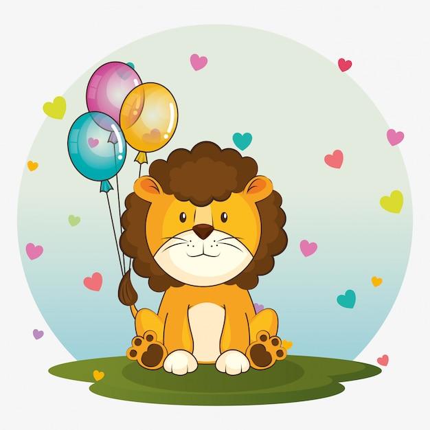 Gelukkige verjaardagskaart met schattige leeuw Gratis Vector