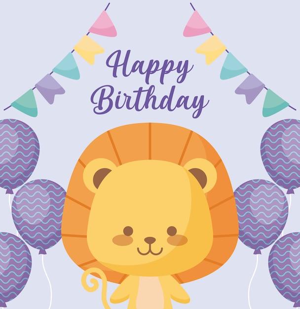 Gelukkige verjaardagskaart met schattige leeuw Premium Vector