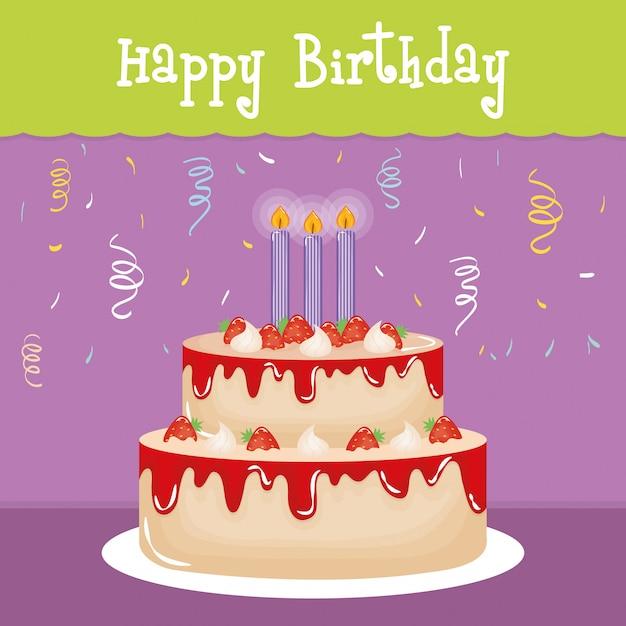 Gelukkige verjaardagskaart met zoete cake en kaarsen Premium Vector
