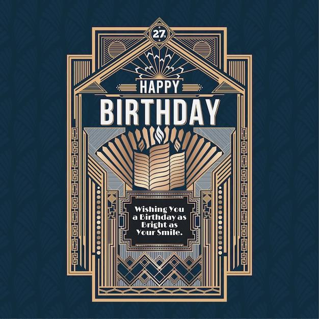 Gelukkige verjaardagskaart, retro art deco vector design golden Premium Vector