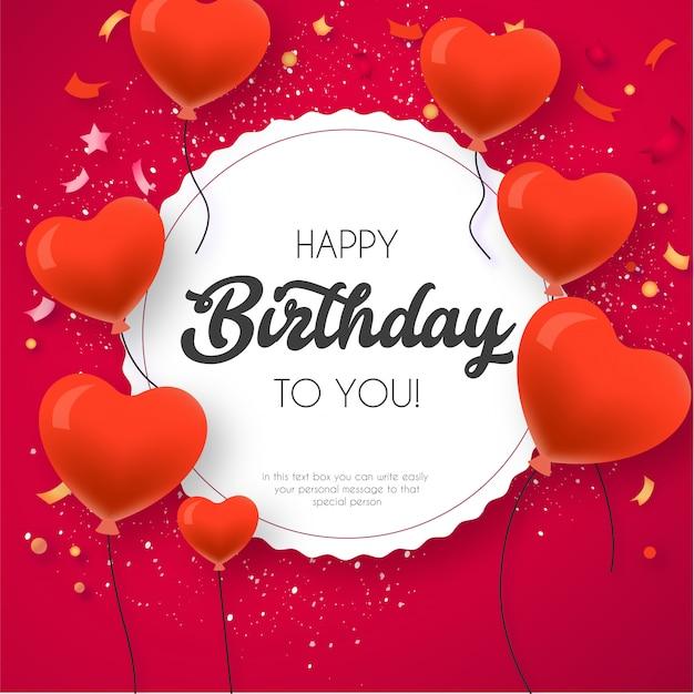 Gelukkige verjaardagskaart sjabloon met mooie ballonnen Gratis Vector