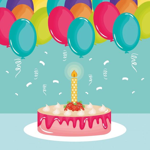 Gelukkige verjaardagskaart, zoete cake en kaars met ballonnen helium Premium Vector