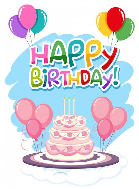 Gelukkige verjaardagskaart Gratis Vector