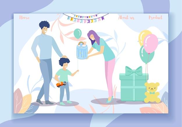 Gelukkige verjaardagspartij. familieplezier, ouders en zoon Premium Vector