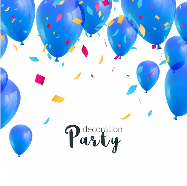 Gelukkige verjaardagspartij uitnodiging met kleurrijke ballonnen en confetti Premium Vector