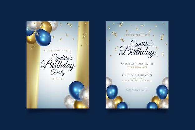 Gelukkige verjaardagspartij uitnodiging sjabloon Gratis Vector