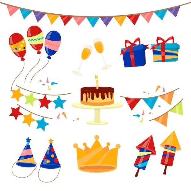 Gelukkige verjaardagspartij viering elementen instellen Premium Vector