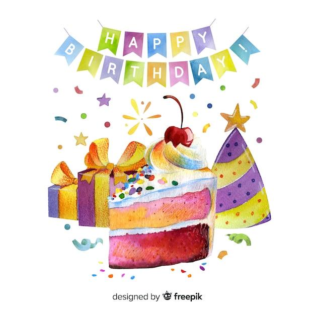 Gelukkige verjaardagsslingers met cake en giften Gratis Vector
