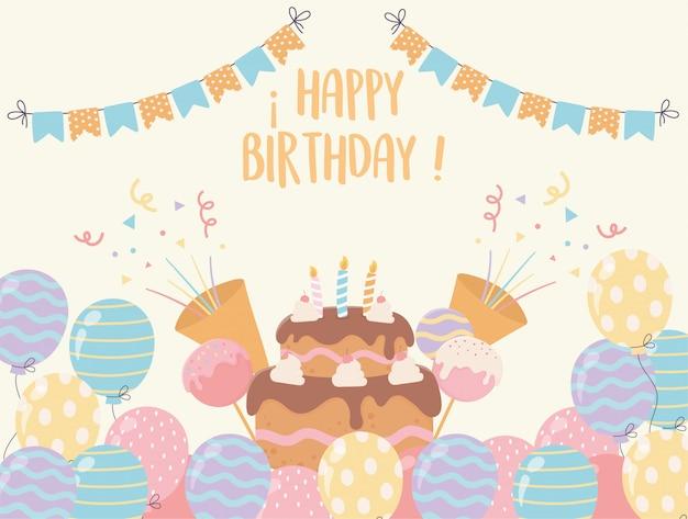 Gelukkige verjaardagstaart met kaarsen ballonnen snoepjes confetti partij decoratie Premium Vector