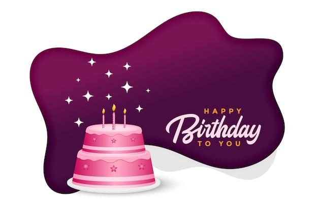 Gelukkige verjaardagstaart viering achtergrond Gratis Vector
