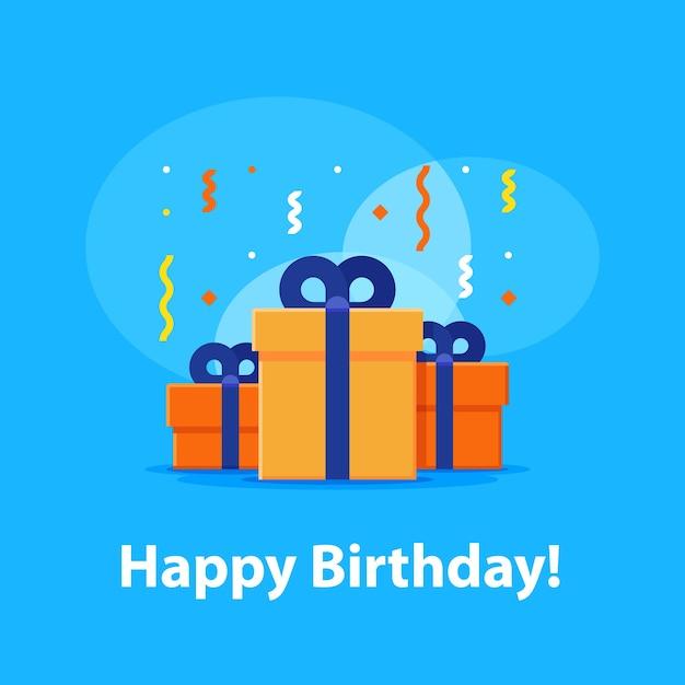 Gelukkige verjaardagsviering, jubileumuitnodiging, groep van drie dozen Premium Vector