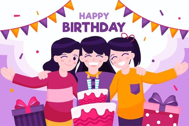 Gelukkige verjaardagsvrienden en cake Gratis Vector