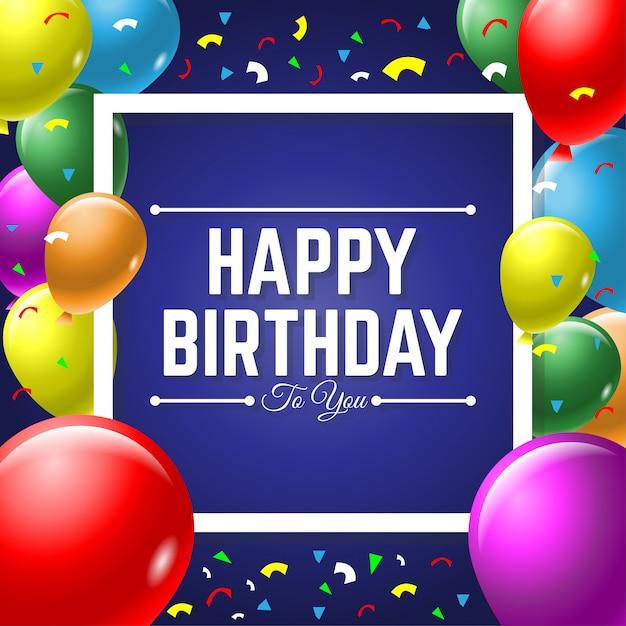 Gelukkige verjaardagswenskaart met kleurrijke ballon Premium Vector