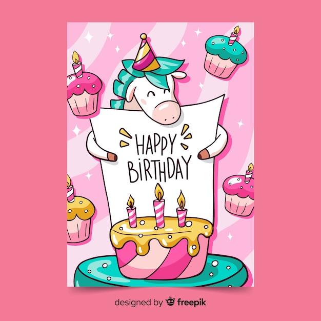 Gelukkige verjaardagswenskaart Gratis Vector