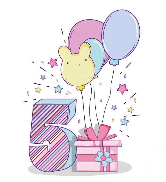 Gelukkige verjaardagviering vijf jaar met heden Premium Vector