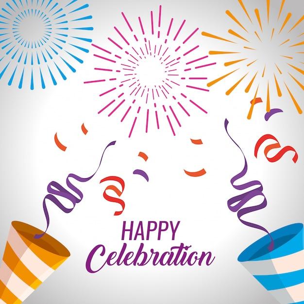 Gelukkige viering met vuurwerk en confettiendecoratie Gratis Vector