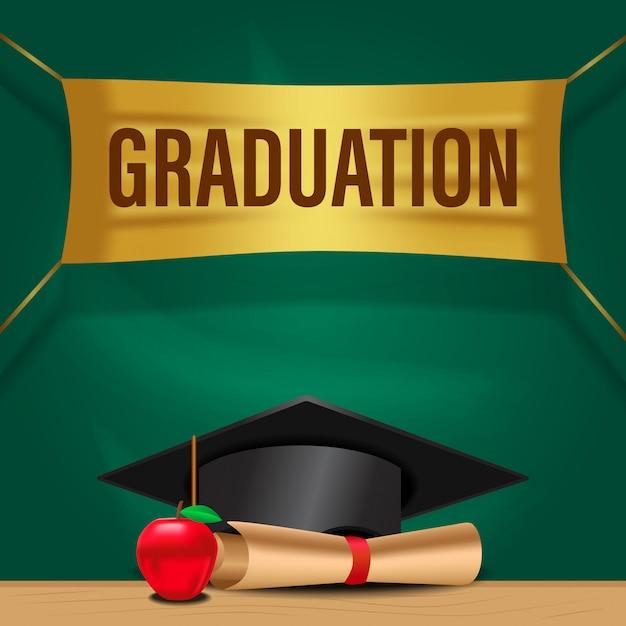 Gelukkige viering van de afstuderenpartij Premium Vector