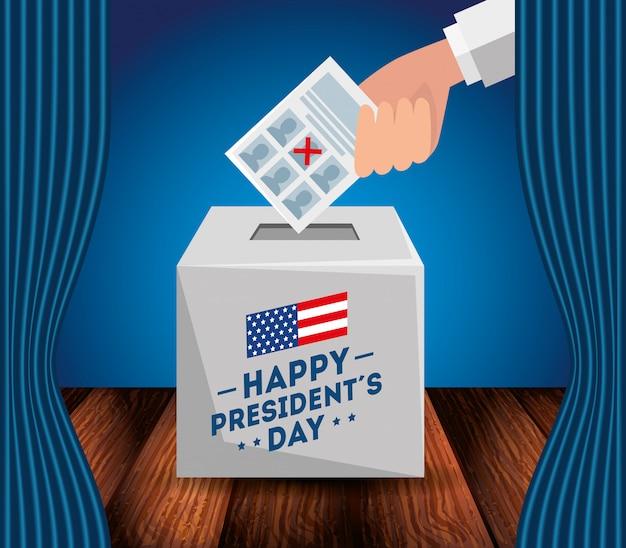Gelukkige voorzittersdag met urn Premium Vector
